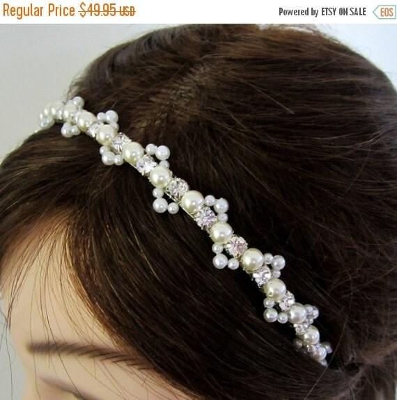 ON SALE Bridal Hairpiece. Bridal Pearl Headband. Headband for Weddings. EVANA