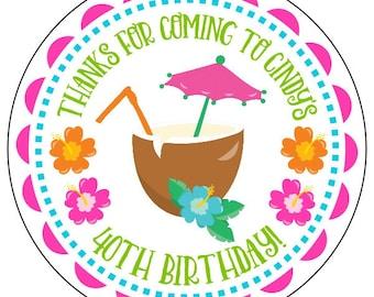 luau party stickers, custom luau birthday labels, 40th birthday luau stickers, beach party stickers, available in 3 sizes