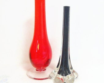 Vintage RETRO Glass Stem Bud vases - PAIR Red and Black circa 70s 60s