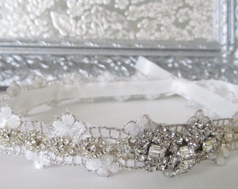 Bridal Headpiece, Wedding Headband, Bridal White Headband, Wedding Hair, Vintage Inspired, Bridal Accessories