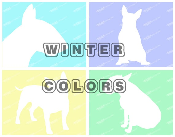 4 Bull Terrier prints, Dog Silhouette, Winter Backgrounds, Dog Breed Art Print, Dog Lover Gift, Dog Wall Art, Modern Art Print, Unique Gifts