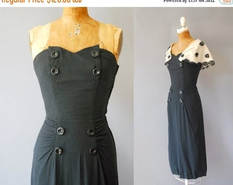 30%OFF 1950s Linen Dress / Strapless or Capelet Dress / 50s