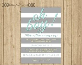 Oh Boy! Invitation | Boy Baby Shower Invite | Blue and Grey Shower Invitation | Gray Striped Invite | BS17