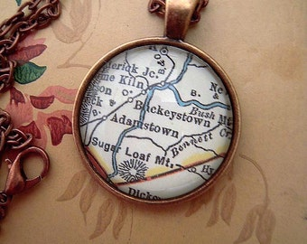 Custom Map Jewelry, Buckeystown Sugar Loaf Mountain Adamstown Maryland Vintage Map Pendant Necklace, Map Jewelry, Map Cuff Links, Gift Ideas
