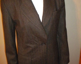 Vintage 1990s 90s Burberry 100% Virgin Wool Blazer Jacket Size 2 petite