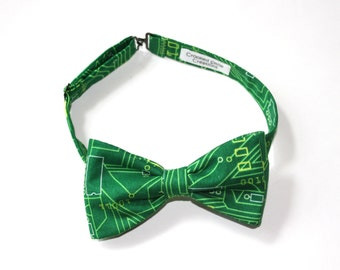 Computer Geek Gift Bow Tie - Bow Tie for Men - Green Bow Tie - Teacher Tie - Gift for Teacher