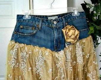 Belle Bohémienne exquisite vintage beige lace funky frou frou Renaissance Denim Couture bohemian jean skirt Made to Order