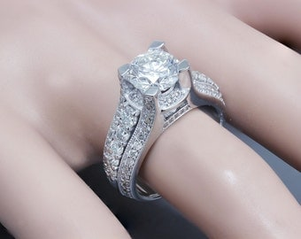 14k white gold round cut diamond engagement ring deco prong 2.90ct F-VS2 EGL USA