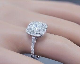 14k White Gold Cushion Cut Diamond Engagement Ring Soleste Style 1.35ctw