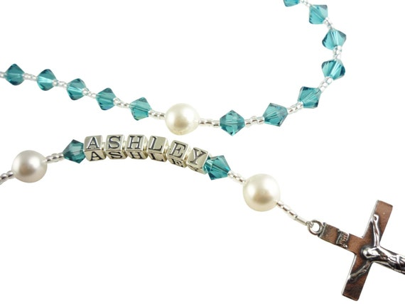 Turquoise Indicolite Baptism Rosary Christening / birthstone/ First Communion Personalized Name Baby Godparent Wedding Gift