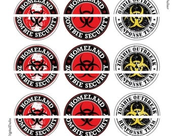 """Zombie Magnets, Zombie Pins, Zombie Homeland Security, Zombie Badges, 1"""" Flat Backs or Hollow Backs, Badges, Cupcake Pics, 12 ct,"""