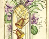 Vintage Whitney Easter Postcard Pair of Gold Bells in Window Spring Violets 1916