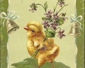 Lightly Embossed Antique EAS Easter Postcard 1910 ~ Chick With Bouquet of Spring Violets Easter Bells