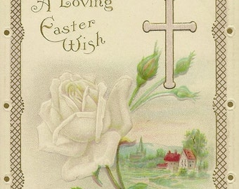 White Rose Stem and Simple Cross on Embossed Vintage Easter Postcard James E Pitts Stecher Litho Series 1B
