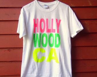 90s Neon Hollywood California Travel Hipster Tourist Beachy White Tshirt M