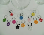 Wine charms,wine glass charms,colourful charms,wood chams,wine glass jewelry,wine accesories