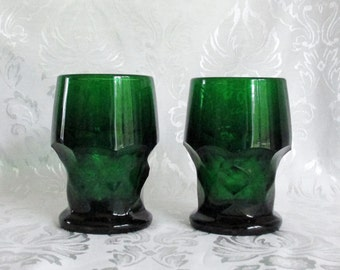 Georgian Tumblers Emerald-Forest Green Set of 2 Drinking Glasses with Flat Bottoms