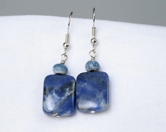 Sodalite Stone Earrings - Blue Dangle Earrings - Rectangle Earrings - Natural Stone Earrings - Ceramic Bead Earrings - Geometric Earrings