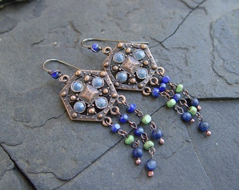 Boadicea's Shield - Swaraovski, Glass and Copper Earrings