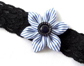 Blue Striped Kanzashi Flower on Black Lace Headband