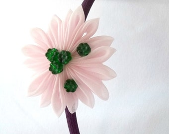 Purple and Pink Flower Headband with Forest Green Beads