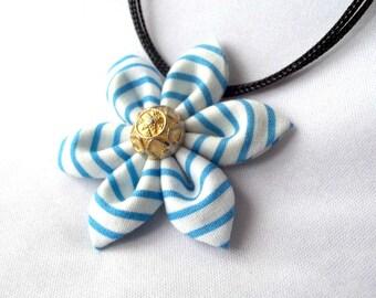 Blue Striped Pendant Tsumami Kanzashi Flower Necklace