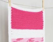 Crochet Doll Blanket Pink/White 18 x 12