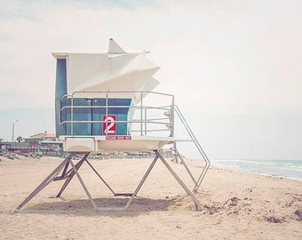 Clearance Sale, Blue Lifeguard Tower, San Diego, Imperial beach, Beach Decor, Blue Beach Art, Coastal, 8x10 Print Ready To Ship