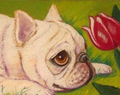 French Bulldog painting art dog bulldog ORIGINAL Oil Pastel Painting Dog tulip frenchie
