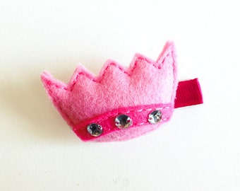 Princess Crown Felt  hair clip / girl hair clip / barrette / puffy felt crown / felt crown /
