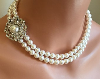 Pearl Wedding Jewelry Set Necklace with brooch and Earrings in Swarovski Pearls rhinestone 2 double strands of pearls bridal bridesmaid sets