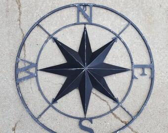 Metal Compass Rose, Nautical Decor, Metal Compass Wall Art, Compass Wall Art, Nautical Compass, Nautical Wall Decor, Metal Wall Decor