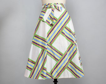 Basketweave Wrap Skirt • 70s Wrap Skirt • Geometric Print Cotton Midi Skirt • Colorful Cotton Skirt • Summer Skirt • Flare Skirt | SK533