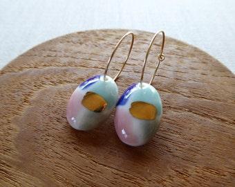 Watercolour Oval Hoop Earrings