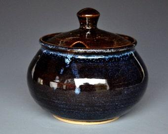 25% Off Seconds Blue Black Pottery Ceramic Jar CF