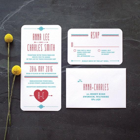 Retro Folksy Wedding Invitation / 'Lovestruck' Simple Heart Monogram Wedding Invite / Red Aqua Blue / Custom Colours Available / ONE SAMPLE