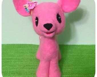 Felted Pink Deer / Soft Sculpture