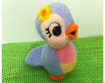 Bluebird of Happiness by Melanie / Felted Bird / Soft Sculpture