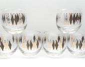 Vintage  Black Diamond Harlequin Roly Poly Cocktail Glasses