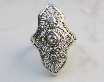 Antique Art Deco Filigree Diamond and 18k Solid White Gold Ring, Size 6