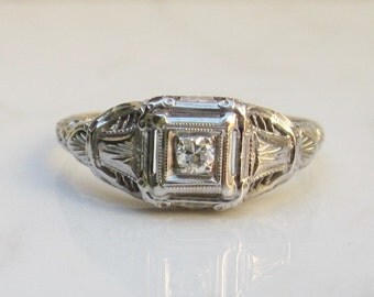 Antique Art Deco Diamond Solitaire Engagement Ring in 14k Solid White Gold, Size 8