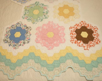 Sweet Grandmother's Flower Garden Vintage Quilt Piece with Dense Hand Quilting - 8 Flowers