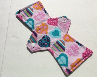 10 Inch Cloth Menstrual Pad Regular Flow Hearts