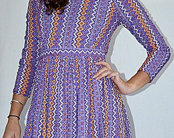 SALE Vintage 1970s Purple and Orange Bohemian Chevron Print Micro Mini Dress Sz S