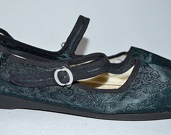 SALE Thru July Vintage Dark Teal Blue Brocade Satin Chinese Shoes Mary Janes Sz 9 1/2 - 10