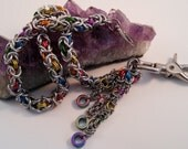 Rainbow and silver byzantine weave chainmaille wallet chain lgbt pride
