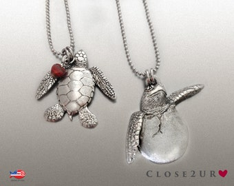 Sea Turtle and Hatchling Necklaces