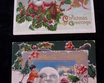 2 Vintage  Embossed Christmas and New Years's  Postcards Circa 1910 Antique Holiday Snowman with Moon Face