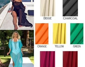 SALE! Ten Dollars OFF! Long Draped Sheer Beach Cover Up - Kaftan - Swimsuit Coverup - White - Long Dress  - Optional Belt - Additional Color