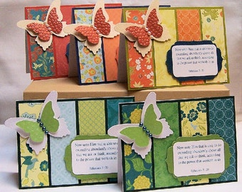 Set of 5 Butterfly Encouragement Scripture Blank Greeting Cards